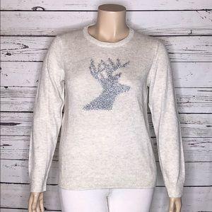 Talbots XL Tinsel Deer Reindeer Christmas Sweater